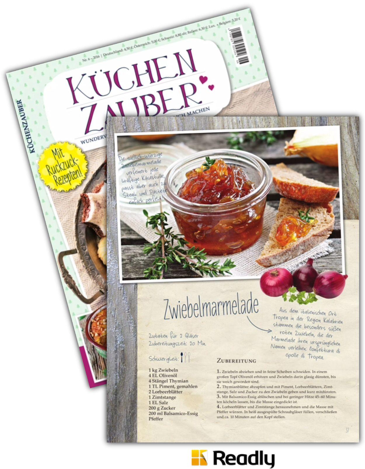 Vorschlag Zu Kuchenzauber 06 2016 Seite 37 Zubereitung Zwiebelmarmelade Das Auge Isst Mit