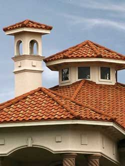 Copper tile roof on a beautiful spanish style home for Spanish style roof tiles