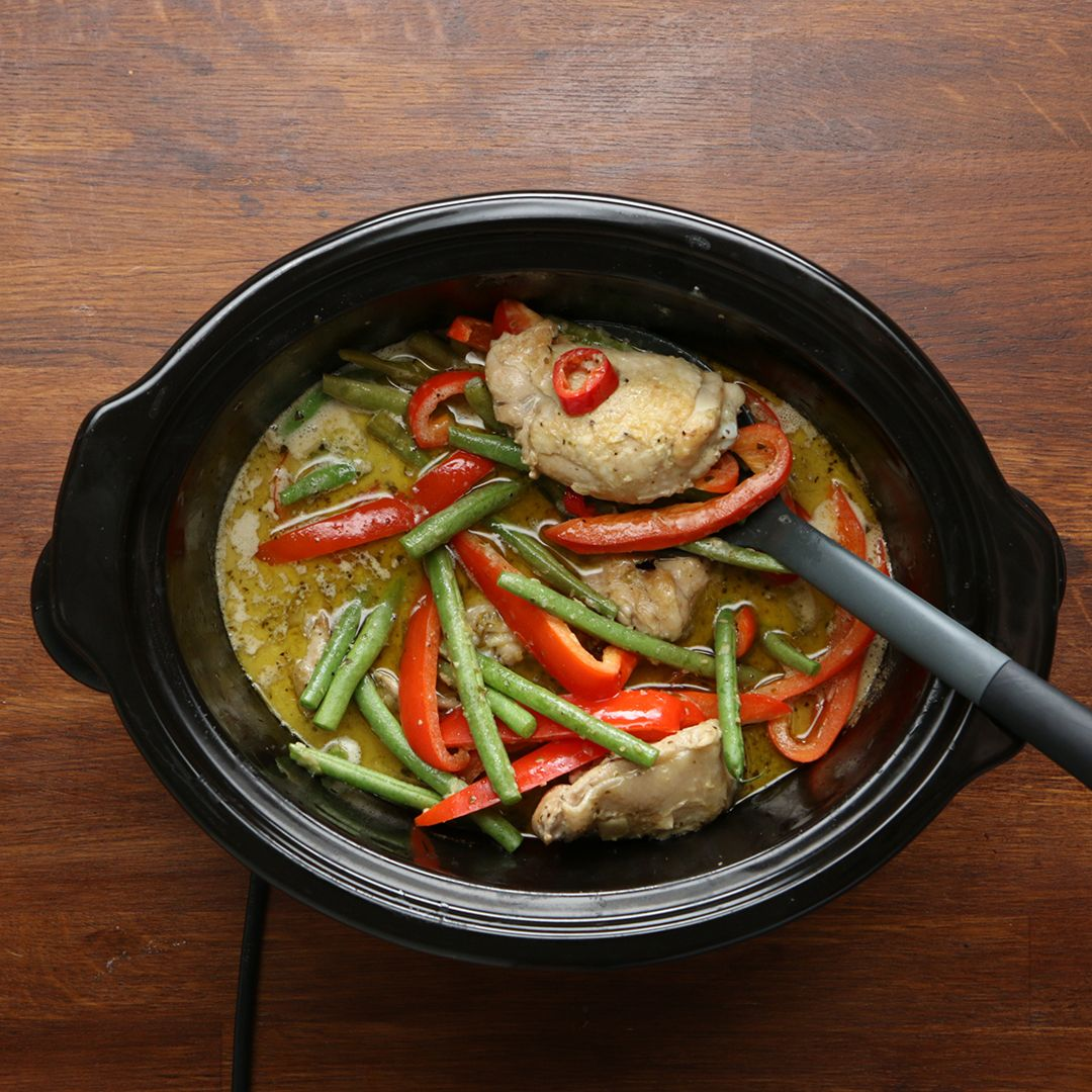 Slow Cooker Thai Green Curry – also works great with pork or beef, think stew.