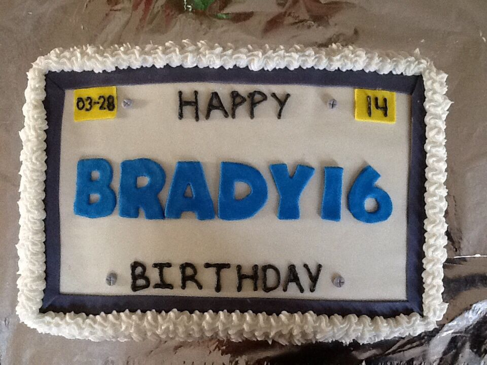 Birthday Cake Designs For 16 Year Old Boy : License plate cake for 16 year old. Ashley s creations ...