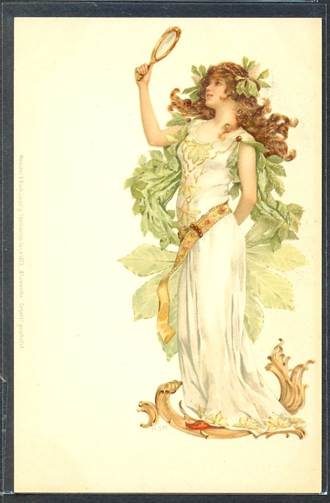 PG195 ART NOUVEAU signed MSM BEAUTIFUL LADY MIRROR Fine LITHO MEISSNER & BUCH
