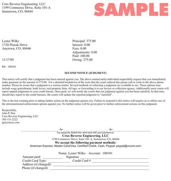 Collection Agency Letter - sample letter requesting a