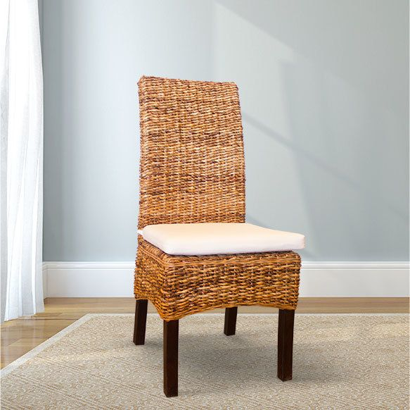 Banana Leaf Chair (Natural) With Removable/washable White Chair Pad Sisal  Chair, Natural Fiber Chair, Wicker Chair