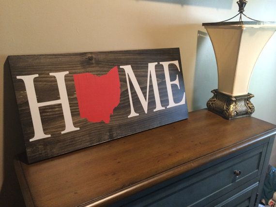 Home Wood Sign, Custom, Ohio, State Sign, Wood Sign, Rustic
