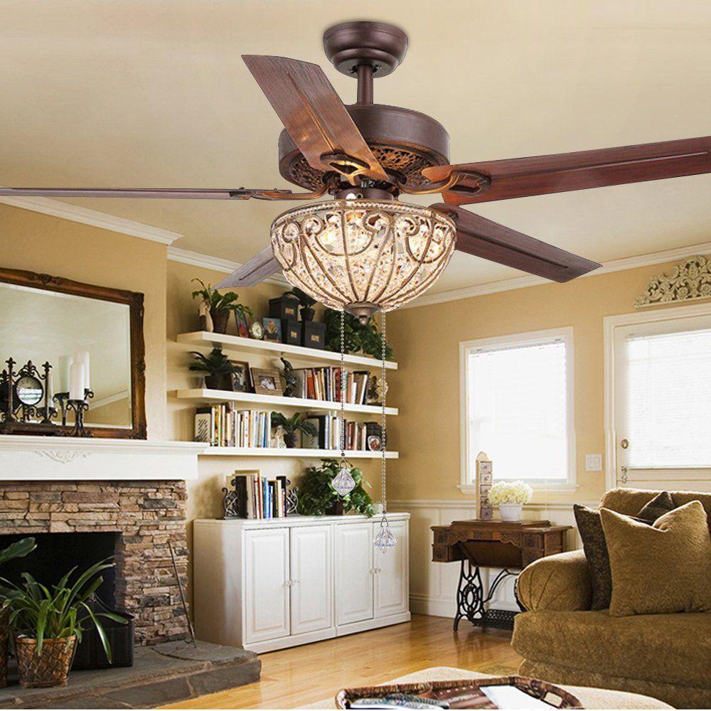 RainierLight Classical Crystal Ceiling Fan Lamp LED Light