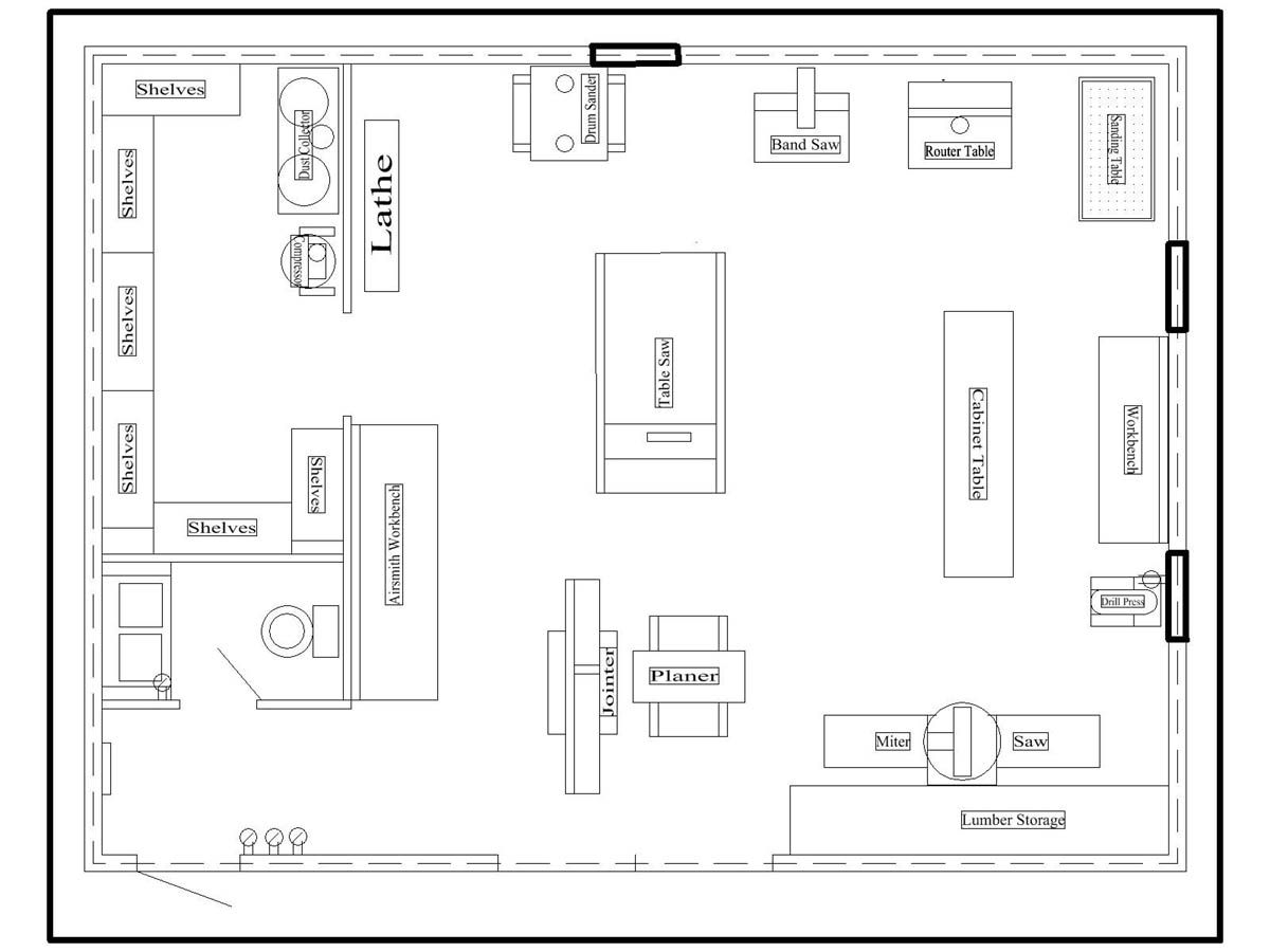 woodworking shop layout plans workshop pinterest On workshop floor plans