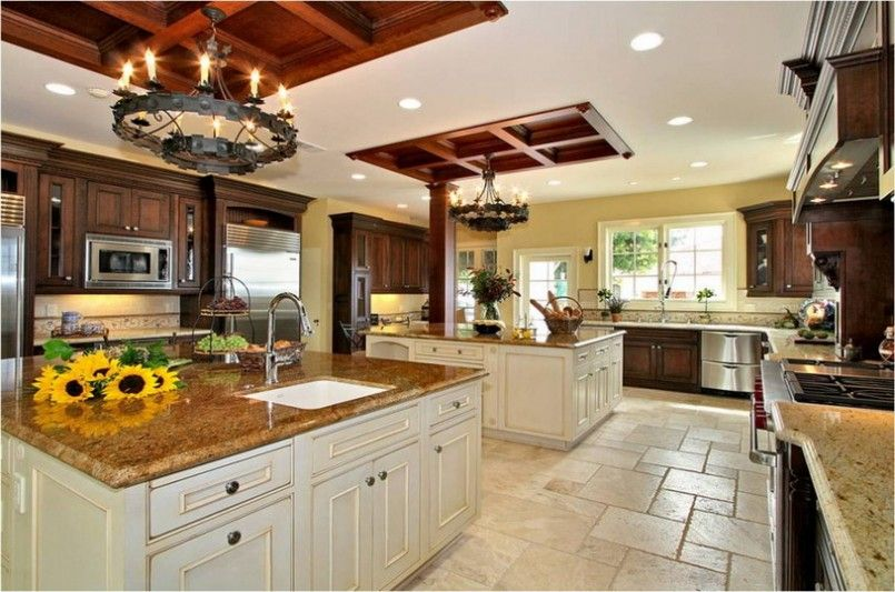 big kitchen designs | large kitchen design with cherry cabinets