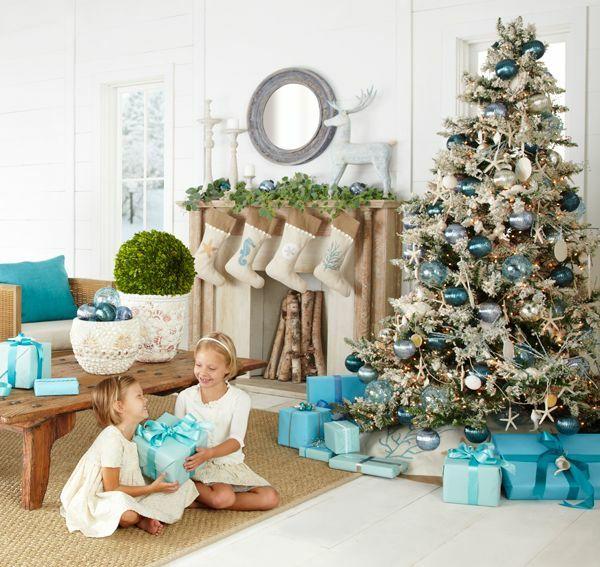 Weihnachtsdeko Wohnzimmer Blau Silber Naturmaterialien