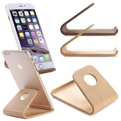 Universal Wood Desk Stand Holder Cradle For Iphone Samsung Htc Phone Tablet