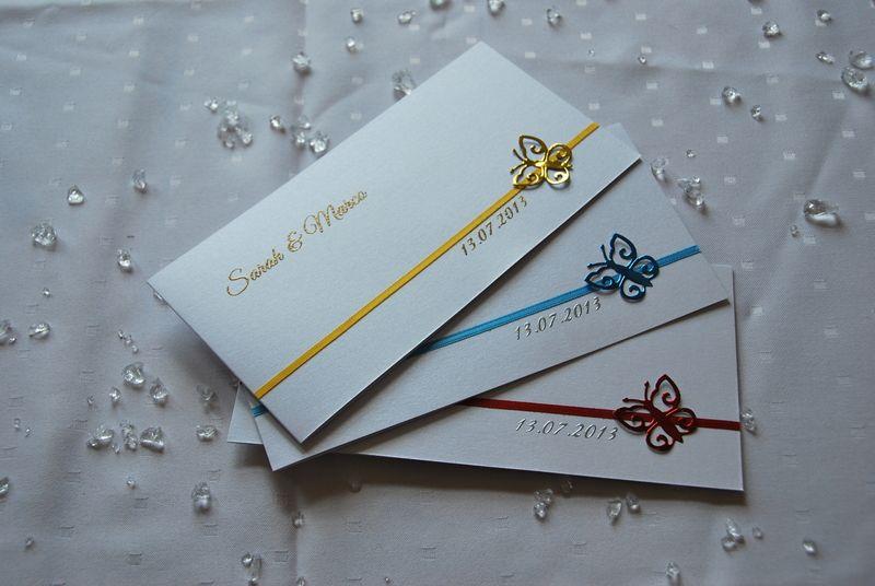 Hochzeitsserie Einladung mit Schmetterling von Cardlove.de auf DaWanda.com