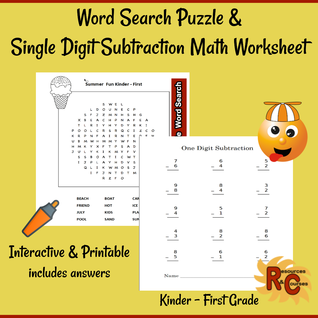 small resolution of Kindergarten - First Grade Summer Fun Word Search \u0026 Math Worksheet from  Resources \u0026 Courses   Summer math worksheets