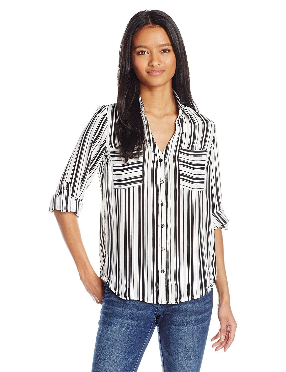 Juniors Byer Womens Button Down Top with Roll-Tab Sleeves A