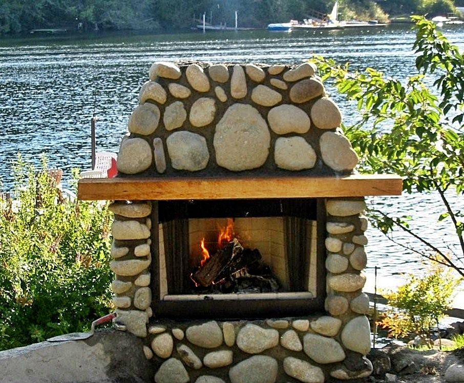 River Stone Outdoor Fireplace