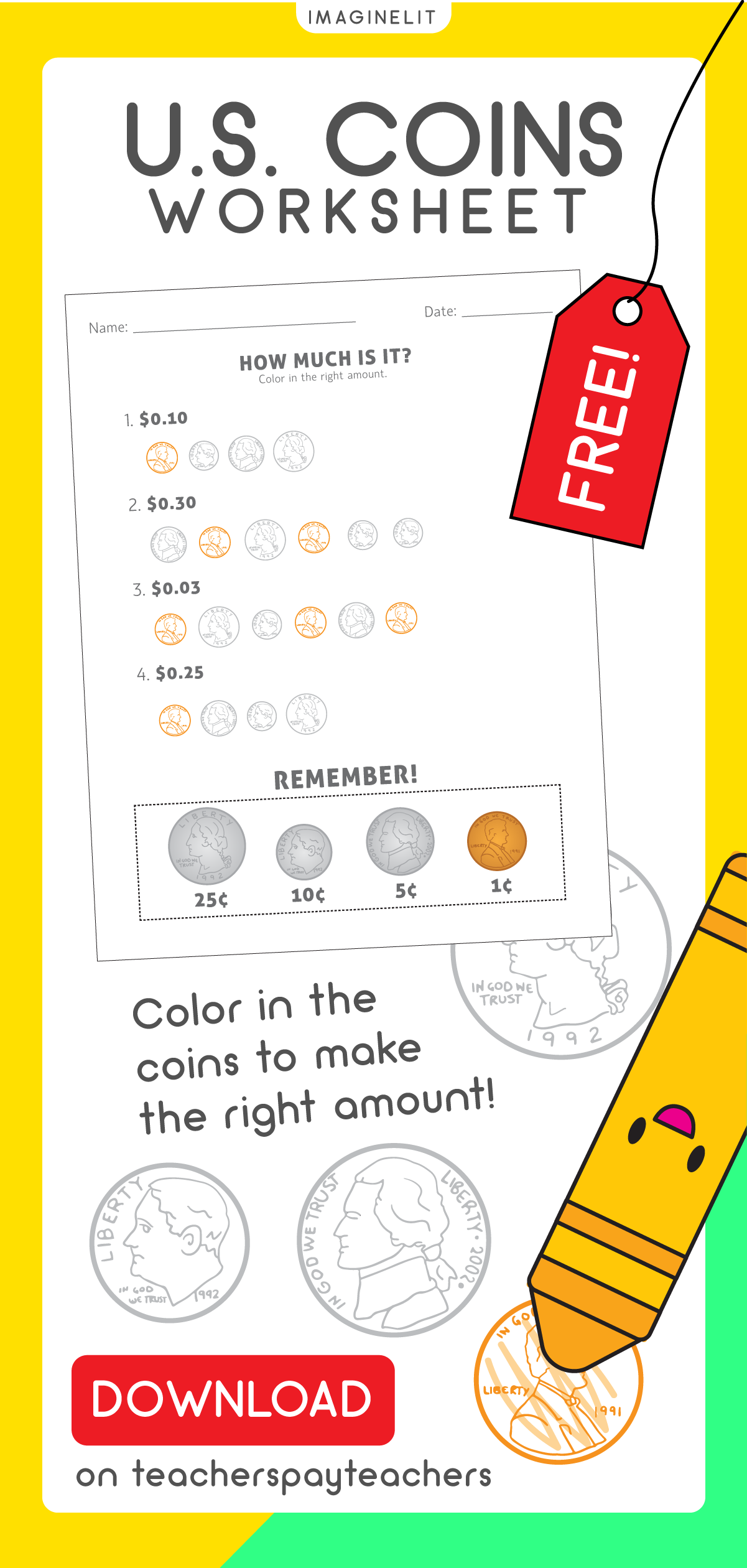 U S Coins Worksheet