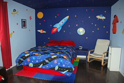 Kids space themed bedroom ideas painted mural like the for Outer painting design