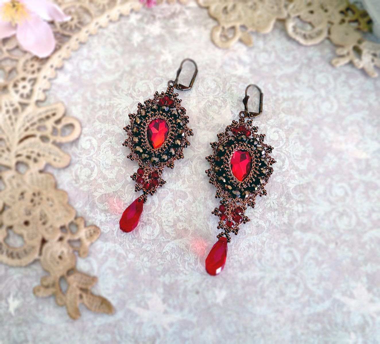 Lace chandelier earrings red cabochon crystal earring long textile lace chandelier earrings red cabochon crystal earring long textile earring crochet jewelry arubaitofo Choice Image