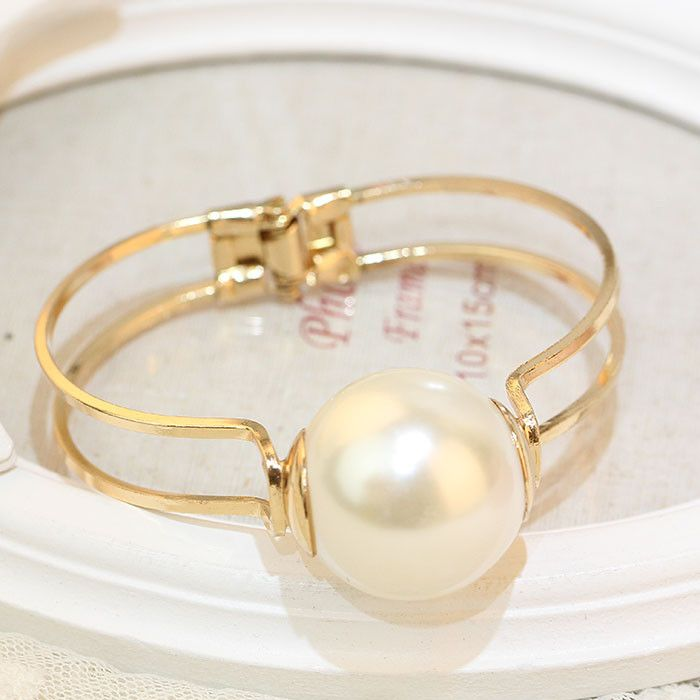 Gold Statement Bracelet With Pearl