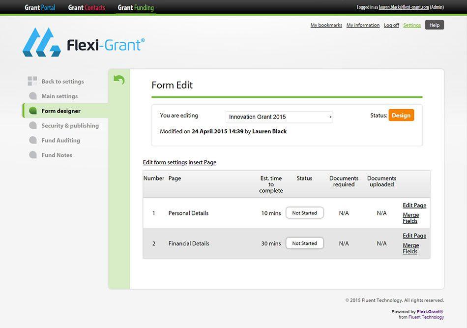 Form Builder Screenshot  FlexiGrant  Grant Management Software