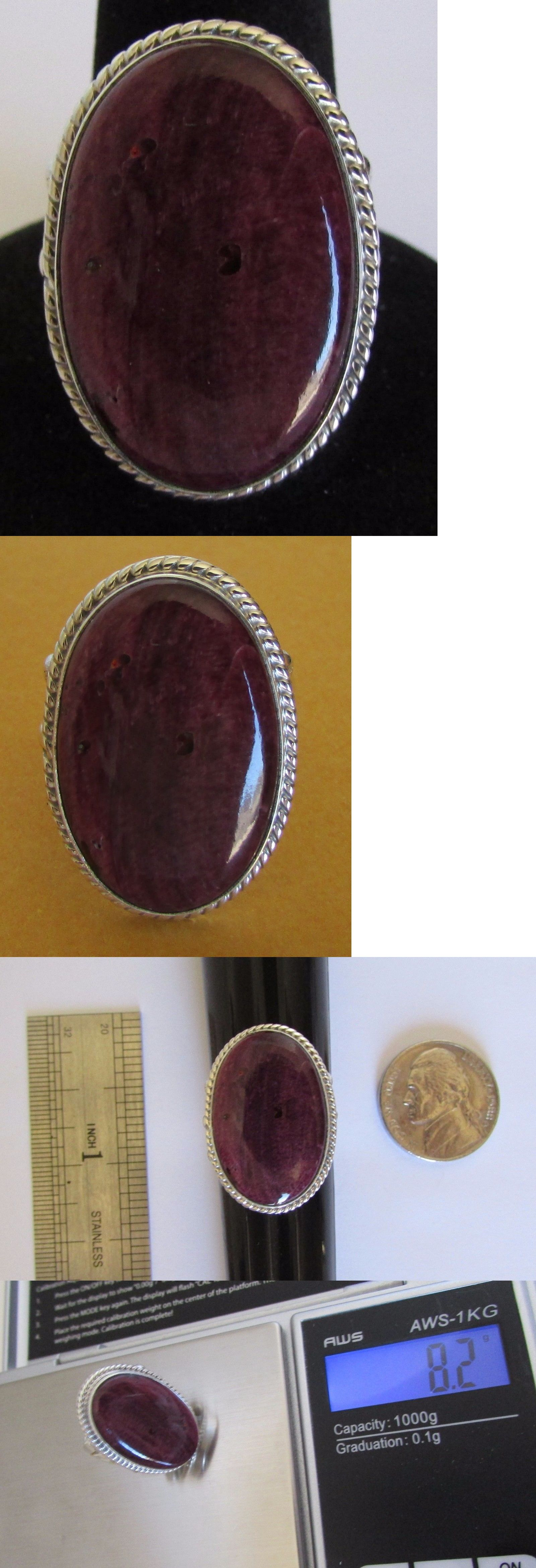 Rings 98500: Native American Navajo Sterling Purple Spiny Oyster Ring Size 8 Running Bear BUY IT NOW ONLY: $59.0