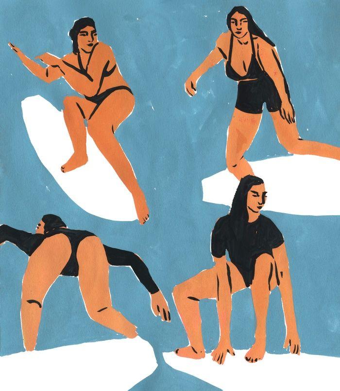 Surf Girls Art Print by Leah Reena Goren | Society6 #afflink #wallart #surfgirls