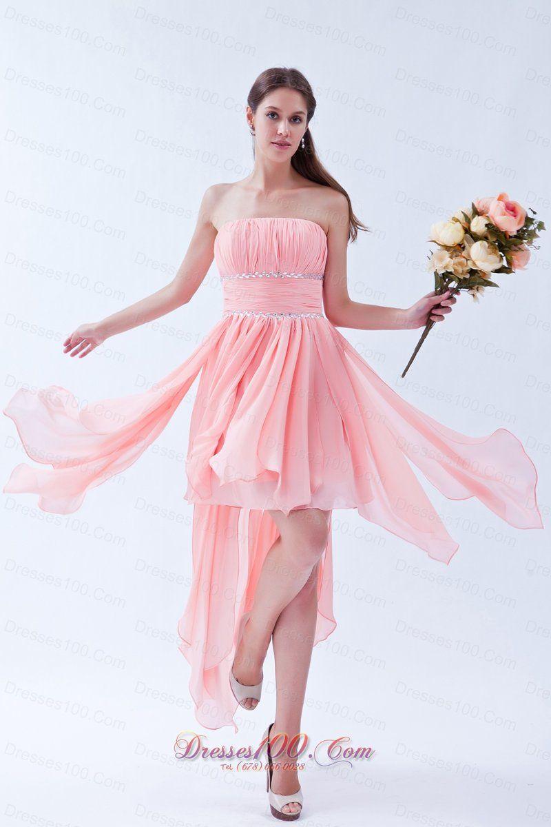 10fd37df8fe4c Watermelon Empire Strapless Prom Dress Asymmetrical Chiffon Beading Under  100 - US$99.88