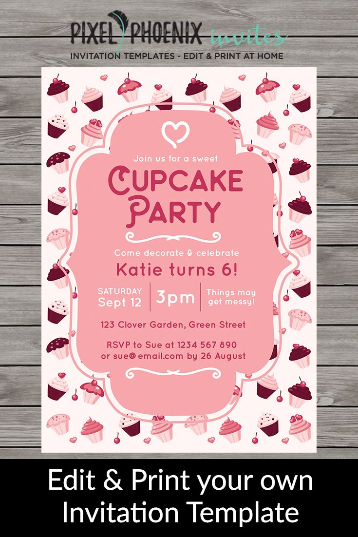 Cupcake Party Invite Girls Birthday Invite Cupcake Birthday - 5x7 birthday invitation template