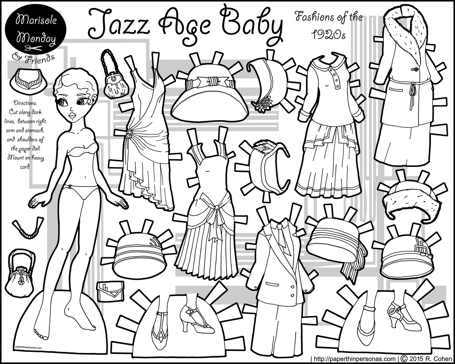 Jazz Age Baby: Twenties Fashion Paper Doll Coloring Page | Black ...