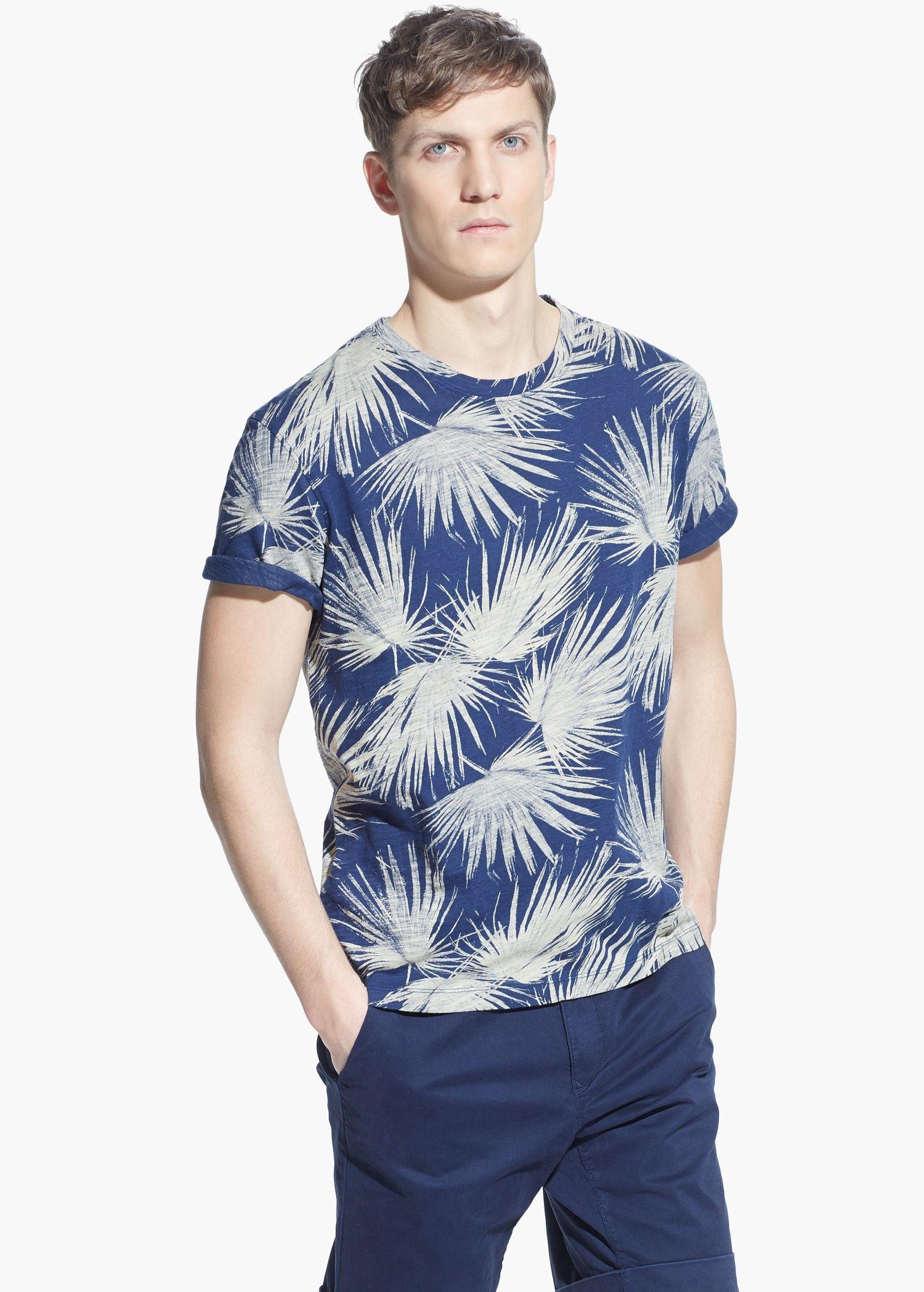 Camiseta estampado hojas - Hombre | MANGO Man España. Mens PjsT Shirt ...