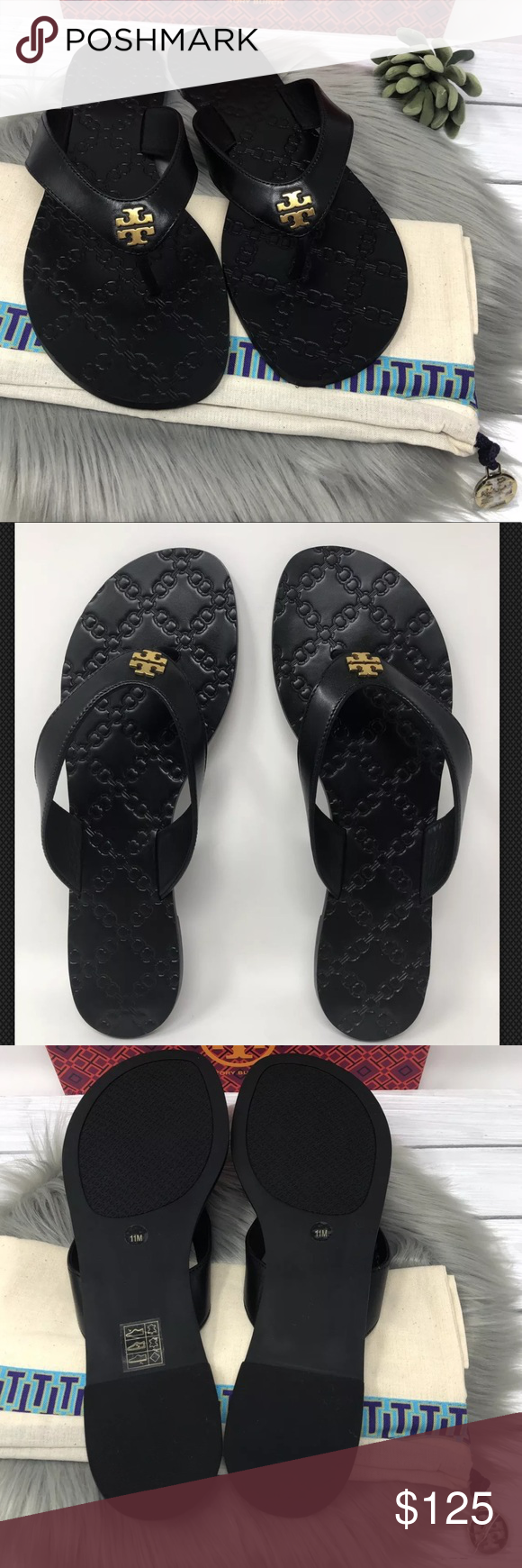5c29acf08 NIB Tory Burch Monroe Thong Sandals Flip Flops Tory Burch Monroe Thong  Sandals Brand new in box. Color  Perfect Black Sizes  9 1 2