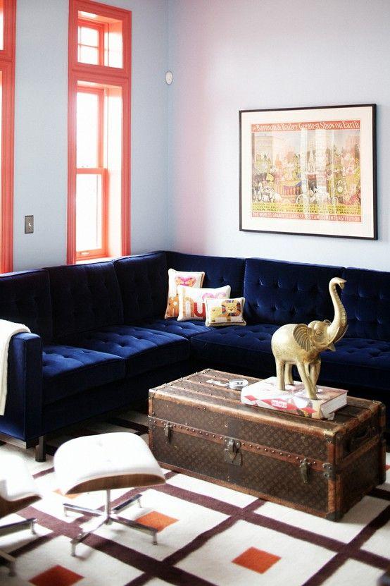 Deep Tufted Blue Velvet Sofa Home Blue Sofa