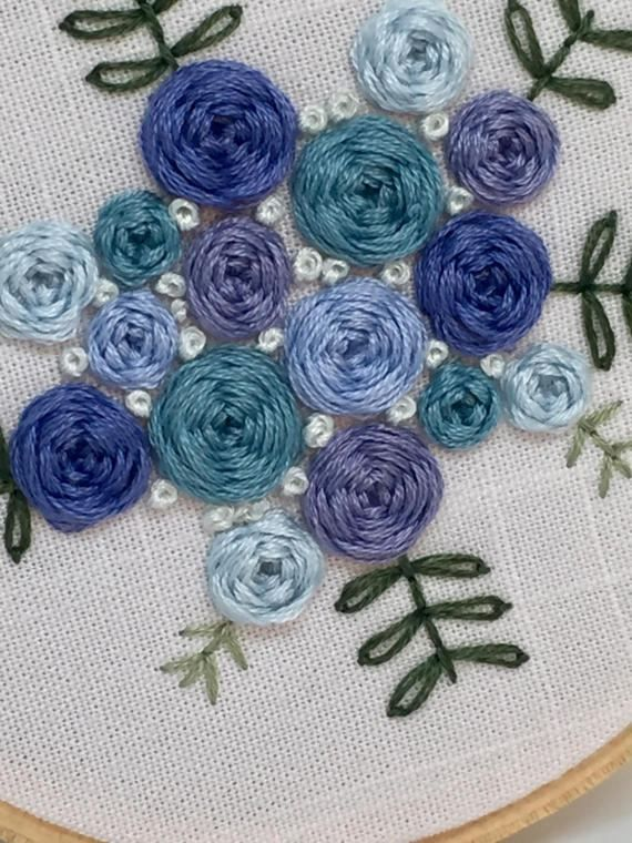 Blue Florals Embroidery Hoop Floral Embroidery Patterns Embroidery Craft Flower Embroidery Designs