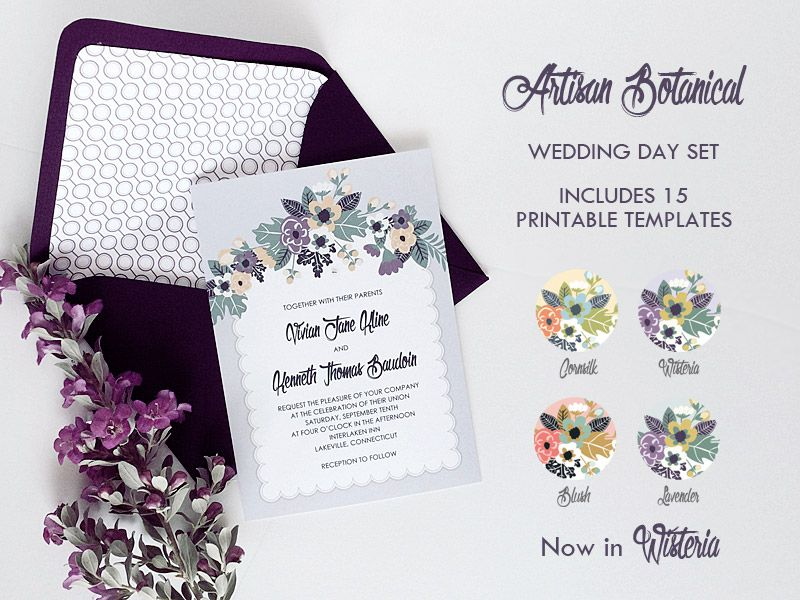 Delicate vintage floral DIY wedding invitation set | Download ...