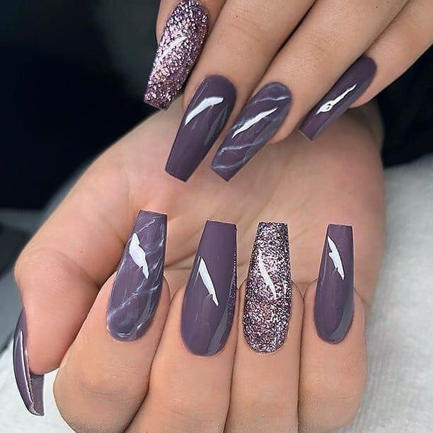 Marbled lavender glitter nail polish 1 | Top Ideas To Try | Recipes ...