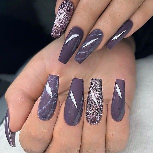 Marbled Lavender Glitter Nail Polish Nailart