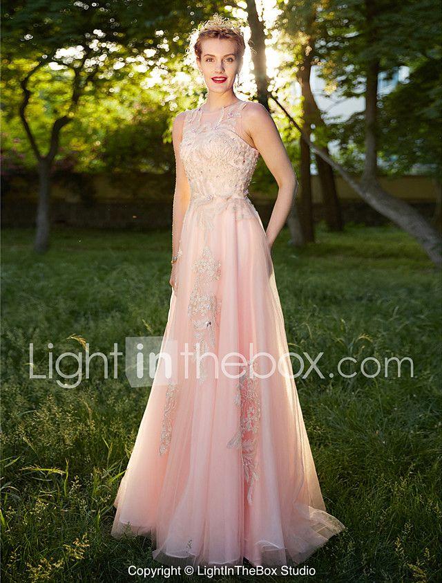 A-Line Illusion Neckline Floor Length Tulle Formal Evening Dress ...