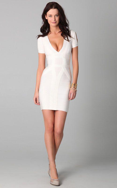 138512b1255 Herve Leger V Neck Short Sleeve White Bandage Dress  Herve Leger White Shor