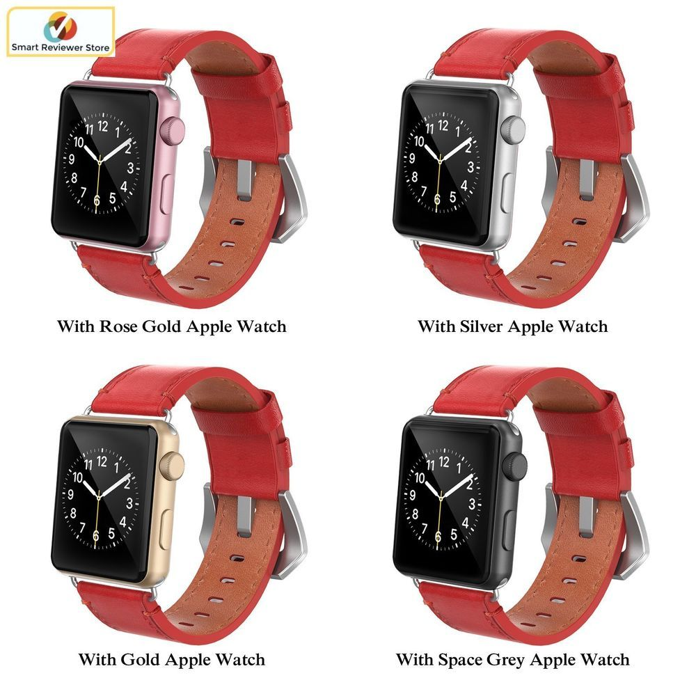 532886fac271ad Genuine Leather Apple Watch band Strap 38mm iWatch Band Red with steel  Buckle #Swees