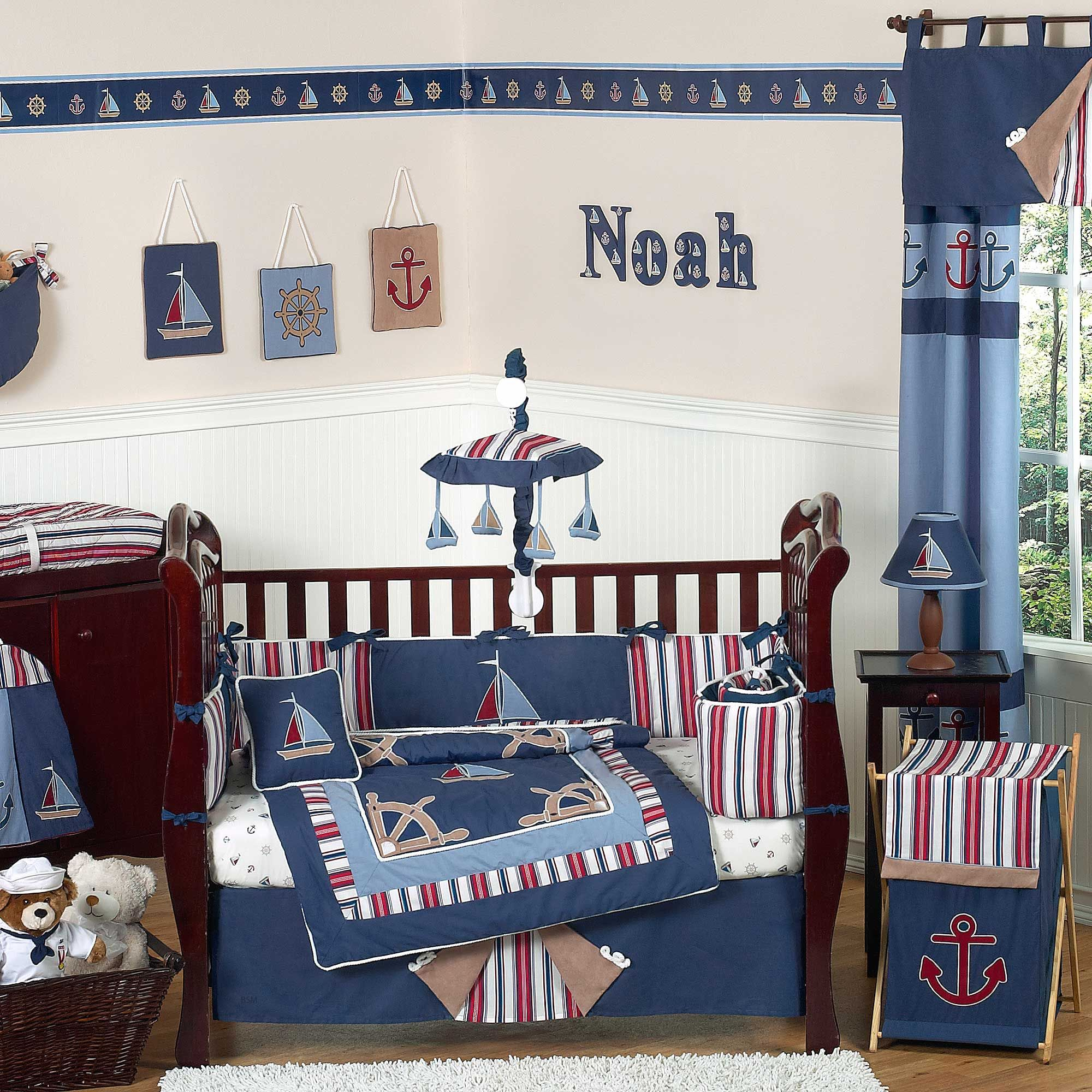 Amazing Little Boy Bedroom Design With WHite Wall Paint Color And Wooden  Floor Also Striped Motif