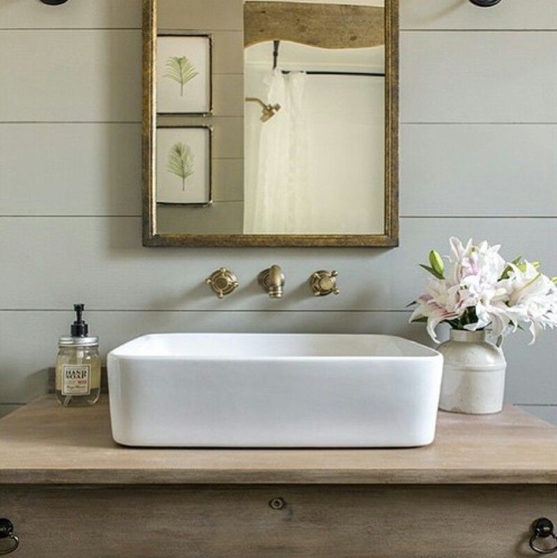 Olive Green Bathroom Ideas: Olive Green Walls, White Washed Wood Vanity, Vessel Sink