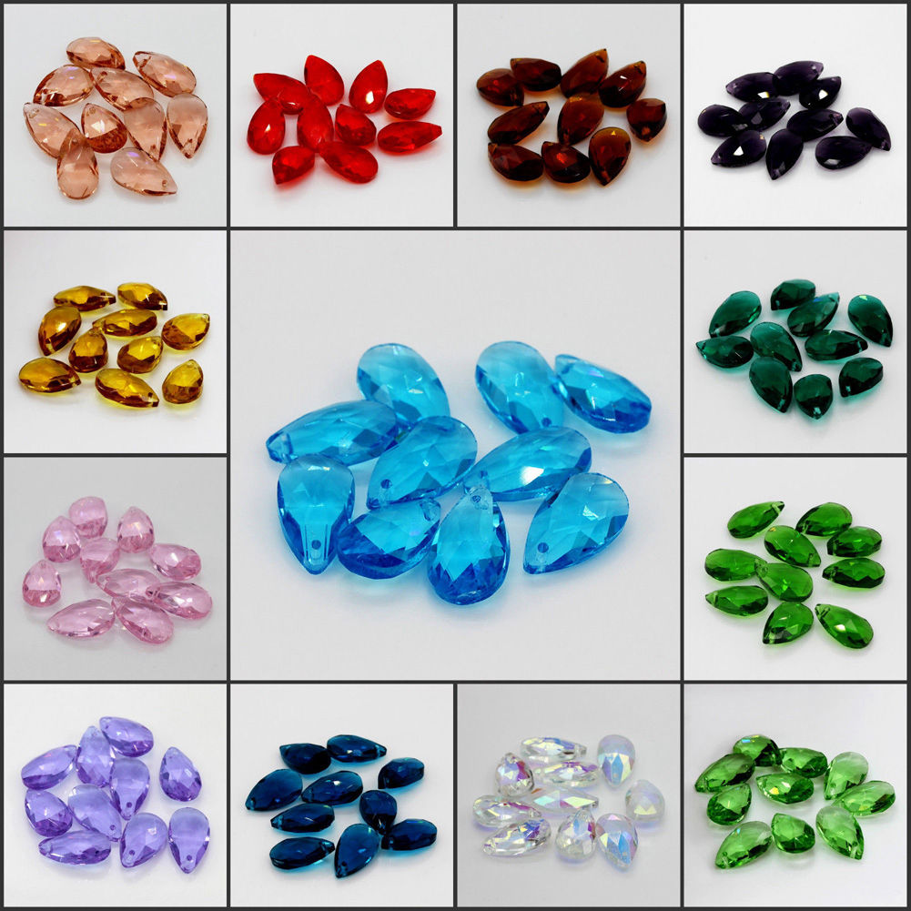 10pcs Faceted Teardrop Crystal glass Loose beads Pendants DIY Wholesale