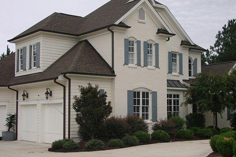 Best White Painted Brick Garage Door Idea House Teal Shutters 400 x 300
