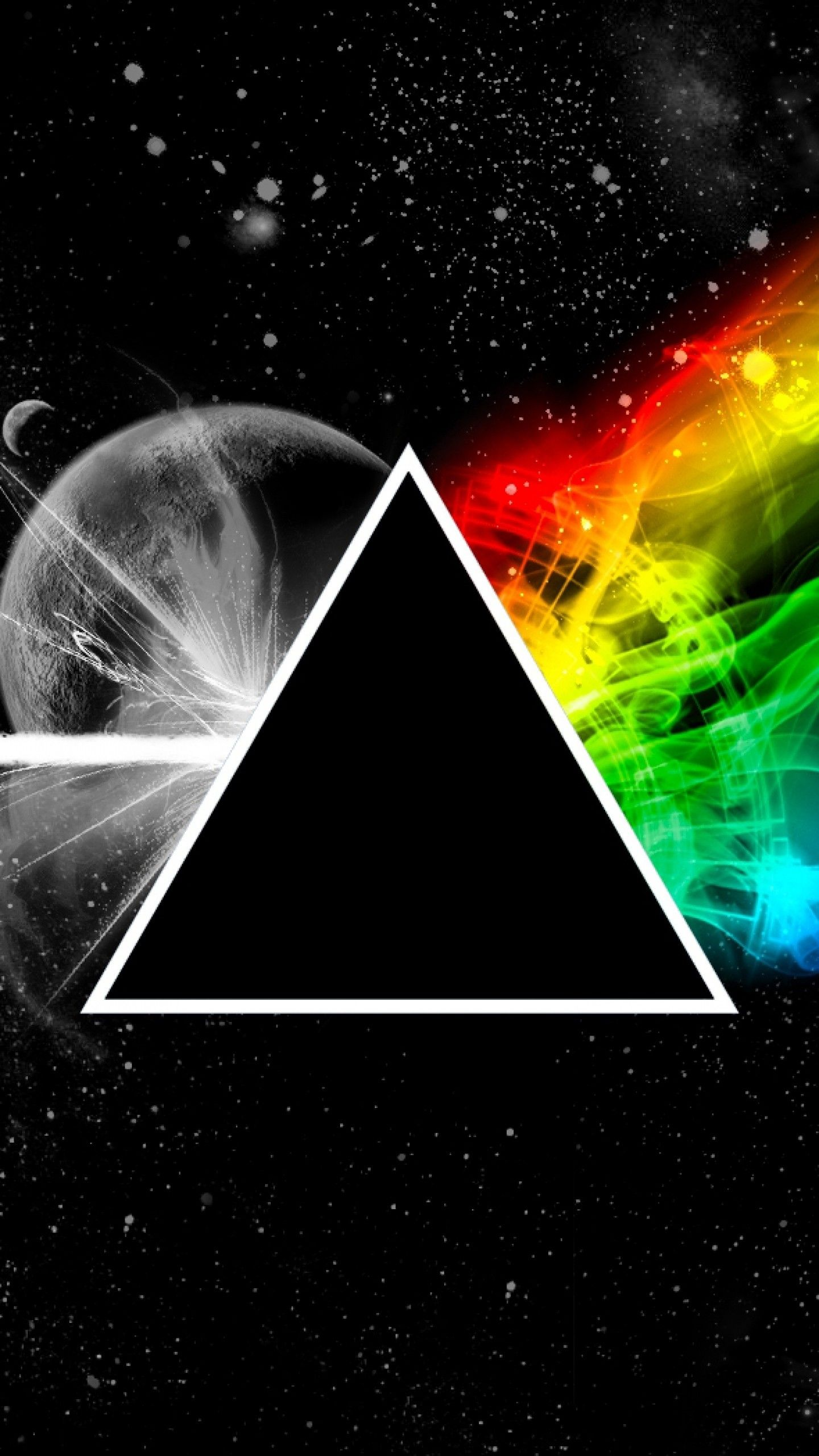 Preview Wallpaper Pink Floyd Triangle Space Planet Colors