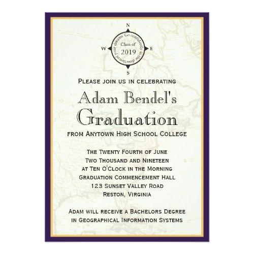 Formal Purple Compass Map Graduation Announcements
