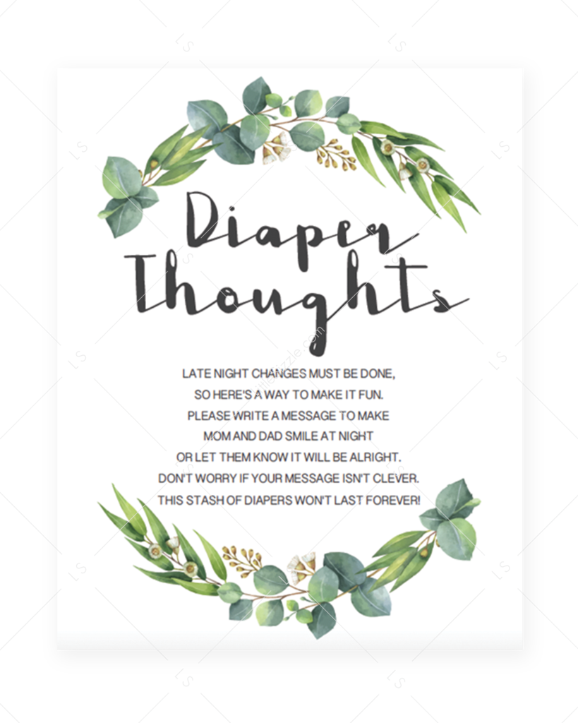 Diaper Thoughts Sign Template with Greenery Wreath - #Diaper #Greenery #Sign, #Template #Thoughts #with #Wreath