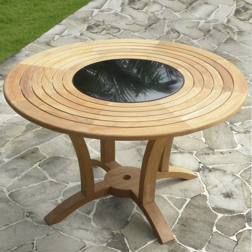 Livina Teak Wood Round Dining Table With Granite Lazy Susan Why