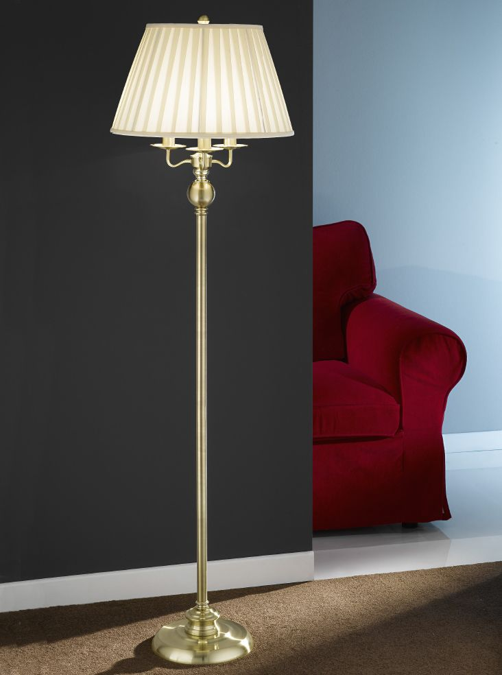 Sl153 Candelabria Floor Lamp Satin Polished Brass With Pale Cream Shade Lighting Bug Swindon Traditional Floor Lamps Lamp Floor Lamp