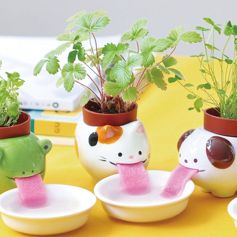 Alientech drinking animal planter self watering pots cute