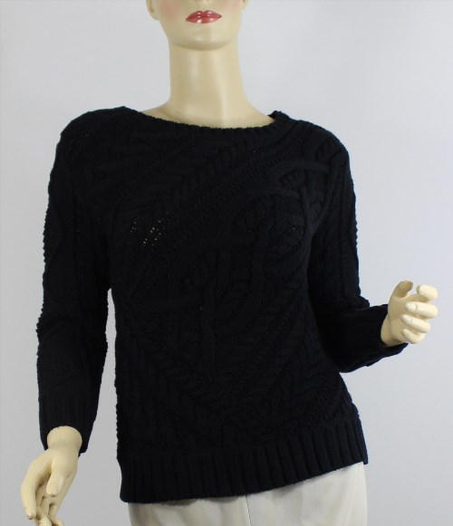 98.01$  Buy now - http://viiry.justgood.pw/vig/item.php?t=cg21sd435135 - Ralph Lauren Cable Knit Sweater Womens XS Black Cotton Crew Neck Hand Knit New