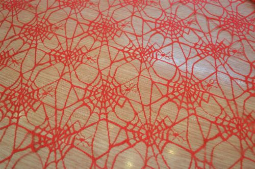 Per Metre Black Satin Halloween Fabric with Gold Foil Spider Webs