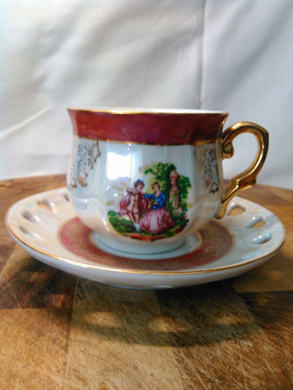 Vintage Imperial Japan Design Opal Lusterware Porcelain Tea Cup Set